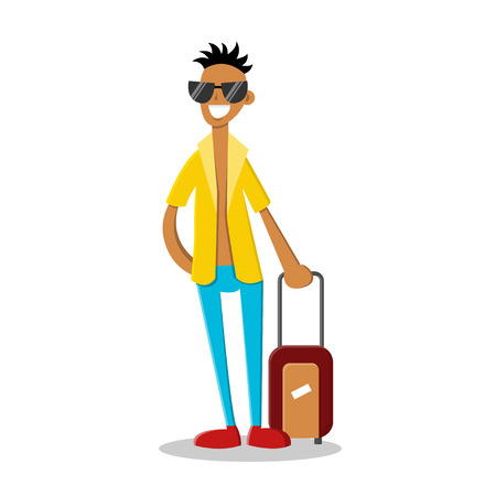 Smiling young man with travel luggage isolated on white. Flat character. Vector illustration in cartoon style. Summer vacation concept.