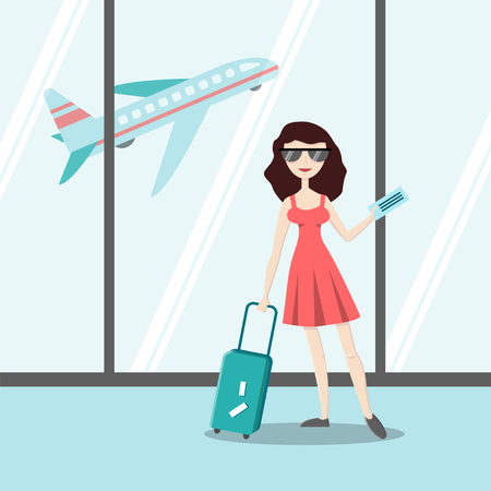 Smiling young girl with travel luggage in airport. Flat character. Vector illustration in cartoon style. Summer vacation concept.