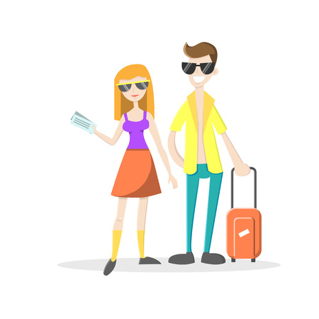Happy attractive couple on summer vacation. Man with suicase and woman holding tickets. Vector illustration. Cartoon style. Flat character isolated on white.