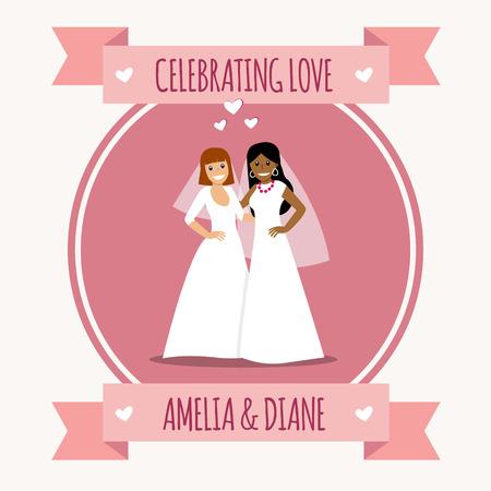 하얀 웨딩 드레스의 아름 다운 레즈비언 커플입니다. 동성애 가족. 동성 결혼. 격리 된 배경에 두 신부입니다. 벡터 아트입니다. 흰색 slhouettes입니다.