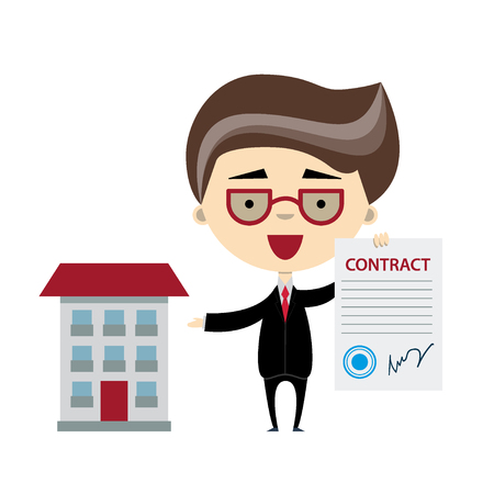 signing: Funny cartoon businessman holding a document and showing on the building. Vector illustration, flat design. Concept for signing of contract for property trade, rent or realty investment.