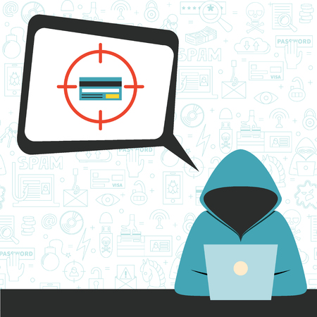 cybercrime: Hacker wearing hoodie with speech bubble and criminal thoughts. Vector illustration, flat style. Concept for hacking, intruder, crime figure, money stealing.