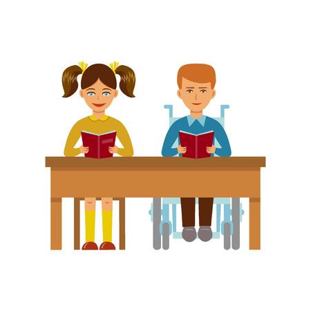 若い女の子と同じ机に座っている車椅子の障害者の少年。ベクトルの図。フラットなデザイン。インクルーシブ教育障害児バリアフリー環境のコン