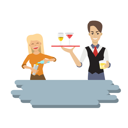 Vector illustration of hipster female and male bartenders holding a tray with alcohol drink and pouring drink in the glass. Cartoon character. Flat style. Waiter and waitress. Illustration