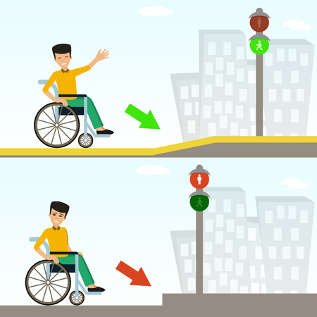 Young man in a wheelchair in front of pavement with ramp and without. Concept for barrier free environment for physically challenged people. Vector illustration. Flat design.