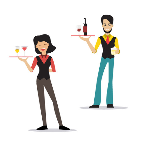 Vector illustration of hipster male and female bartenders holding a tray with alcohol drink. Cartoon character. Flat style. Waiter and waitress serving alcoholic beverages.
