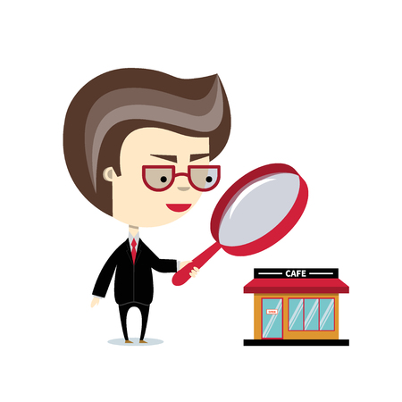 Vector flat illustration of businessman examining the building through the magnifying glass. Concept for audit, due diligence or investment. Cartoon inspector or auditor character isolated on white  イラスト・ベクター素材