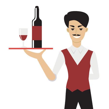 Vector illustratie van de jonge blanke man met snor - een ober of een steward - die een dienblad met een fles en een glas wijn. Flat stripfiguur.