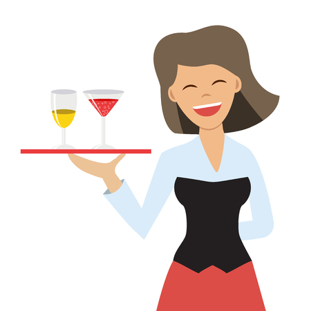 Vector illustration of happy female waitress holding a tray with alcohol drinks. Cartoon character. Flat style. Concept for waitstaff or bartender