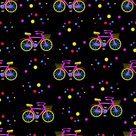 fully: Cute seamless vector pattern with bicycles. Trendy ornament based on hand drawn elements. Fully editable, isolated dark background. Great choice for fabric, textile, wallpaper, wrapping paper etc.