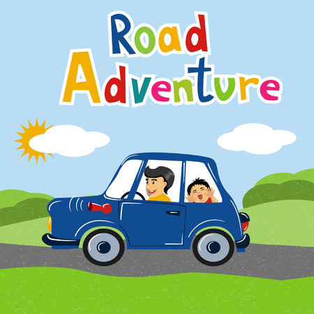 Happy father and his child travelling by car with bike mounted on the roof. Vector illustration. Cartoon style. Concept for family time, road trip, spending time together,  vacation, car travel etc.