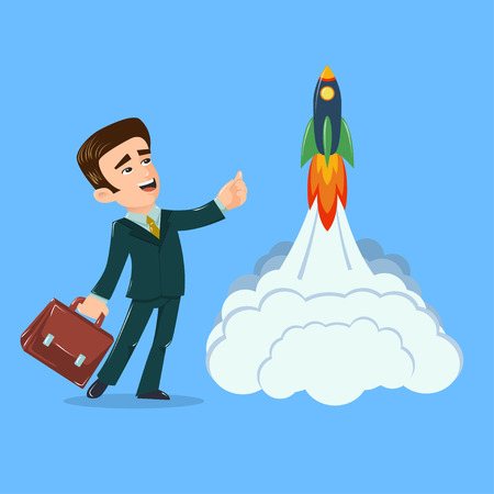 Young businessman with briefcase pointing up and space rocket launch. Vector illustration. Cartoon style. Concept for new oportunities, startup, partnership, future success, innovation, career, growth Illustration