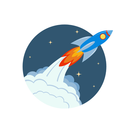 Space rocket launch. Spaceship taking off on a mission. Vector art in flat style. Fully editable. Concept for startup, technology, speed, innovation or start of new business.