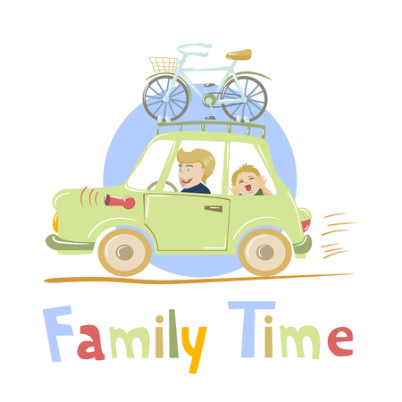 rural road: Happy father and his child travelling by car with bike mounted on the roof. Vector illustration. Cartoon style. Concept for family time, road trip, spending time together,  vacation, car travel etc.