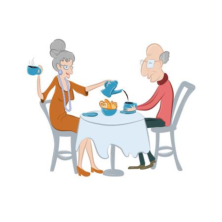 사랑스러운 오래 된 커플 마시는 커피 또는 홍차. 고령자는 커피를 마 십니다. 벡터 일러스트 레이 션. 만화 스타일의 귀여운 노인 캐릭터입니다. 5시에