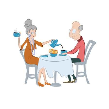 Lovely old couple drinking coffee or tea. Senior people have a coffee break. Vector illustration. Cute elderly characters in cartoon style. Concept for fiveoclock ot tea time.