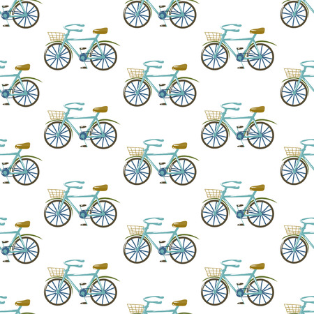 fully editable: Cute seamless vector pattern with bicycles. Trendy ornament based on hand drawn elements. Fully editable, isolated white background. Great choice for fabric, textile, wallpaper, wrapping paper etc.