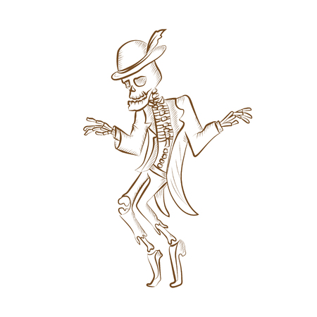 Dancing sceleton.Engraved hand drawn vector illustration. Isolated on white background. Could be used for Halloween decoration, prints, greeting card or invitation. Illustration