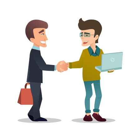 Young businessman or agent  with briefcase shaking hands with happy hipster programmer or developer. Handshake. Partnership. Deal. Association. Vector art in cartoon style. Isolated on white.
