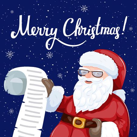 Santa Claus holding a rolling wishlist