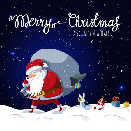 Santa Claus with big sack dropping the gifts. Christmas or New Year holiday art. Vector illustration. Great choice for gift or greeting cards, poster or banner. Illustration