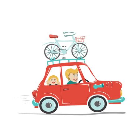 rural road: Happy father and his child traveling by car with bike mounted on the roof. Vector illustration. Cartoon style. Concept for family time, road trip, sport activity, vacation, car travel etc.