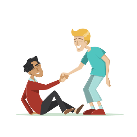 Young smiling guy helps another man to get up after a fall. Vector illustration in cartoon style. Isolated on white. Concept for friendship, helping hand, assisting, togetherness, support.
