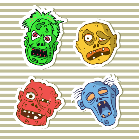 Funny stickers with cartoon halloween zombie faces. Vector art. Fully editable illustration on isolated background.