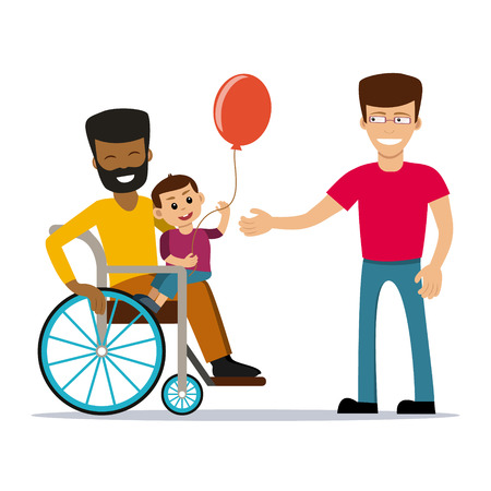 Male couple with kid. Same-sex family. Happy spouses holding a baby. Vector art isolated on art. Cartoon design.