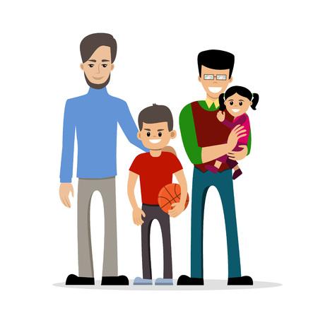 子供たちと男性同性愛者のカップル。同じ性別のファミリ。幸せな同性愛者の配偶者は赤ん坊を保持します。ベクトル アートは、アートに分離され  イラスト・ベクター素材