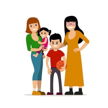 子供と女性の同性愛者のカップル。同じ性別のファミリ。幸せな同性愛者の配偶者は赤ん坊を保持します。ベクトル アートは、アートに分離されま