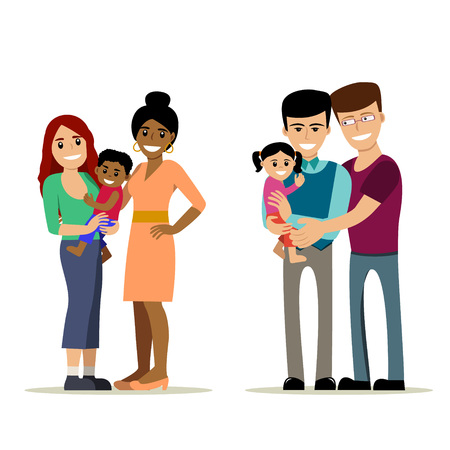 Male and female gay couple with kids. Same-sex family. Happy homosexual spouses holding a baby. Vector art isolated on art. Cartoon design.