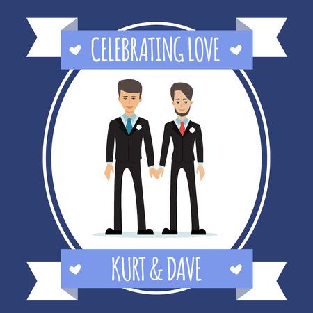 ゲイのカップル。ベクトル図は、白で隔離。同じ性別のファミリ。 男性同性愛者のキャラクター。結婚式招待状のデザイン。