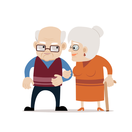 Lovely senior couple smiling each other. Bald old man and old woman with cane. Fully editable vector illustration on white isolated background. Flat design, cartoon style.