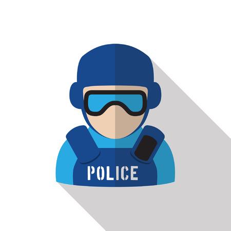警官が防護服と保護とアイシールドを着用のアイコン。孤立した白地に長い影をフラットなデザイン。法執行機関のシンボルです。