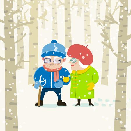 素敵なシニア カップルお互いに笑みを浮かべて、ウォーキングを楽しんでいます。老人と老婦人冬の森に散歩に行きます。分離の背景。フラットな