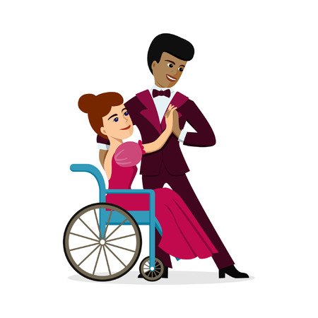 A disabled girl in wheelchair dancing with African American male partner. Vector illustration on white isolated background. Concept for integration, lifestyle, recovery for people with disabiities. Ilustração