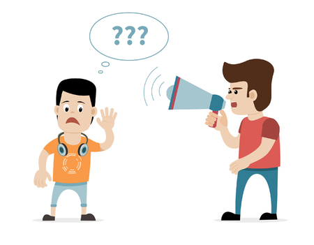 A man shouting with megaphone at hearing impaired young boy with earphones. Concept for deafness, hearing impairment, hearing loss etc. Vector art on isolated background.