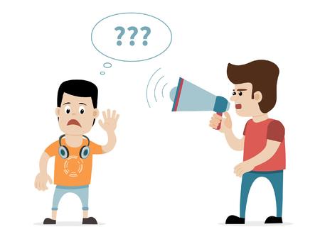 Een man schreeuwen met megafoon op slechthorende jonge jongen met oortelefoons. Concept voor doofheid, slechthorendheid, gehoorverlies enz. Vector kunst op geïsoleerde achtergrond.