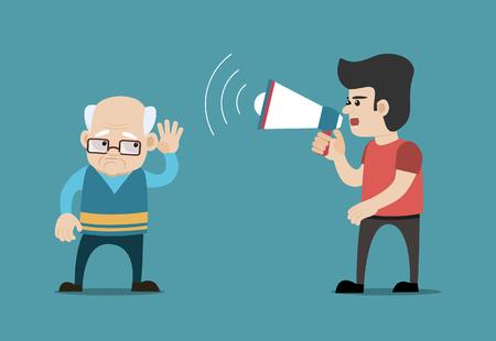 若い男の公聴会でメガホンで叫んで障害年配の男性です。難聴、聴力障害、難聴などの概念。分離の背景にベクトル アート。  イラスト・ベクター素材