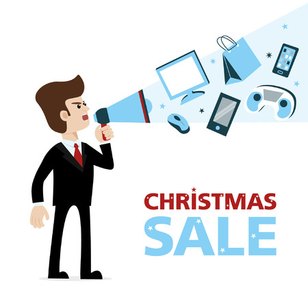 A businessman with megaphone announcing Christmas sale of gadgets - smartphones, game console, computer mouse device, monitors etc. Vector art on isolated background. Illustration for advertising.