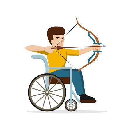 矢印を目指して車椅子で若い男を無効にします。障害者アーチャーのベクター イラストです。フラットなデザイン。アーチェリー、スポーツ、夏の