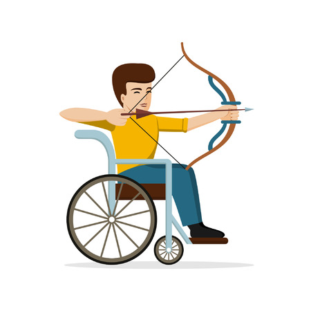 Disabled young man in a wheelchair aiming an arrow. Vector illustration of handicapped archer. Flat design. Concept for archery, sport, summer paralympic games, active life.