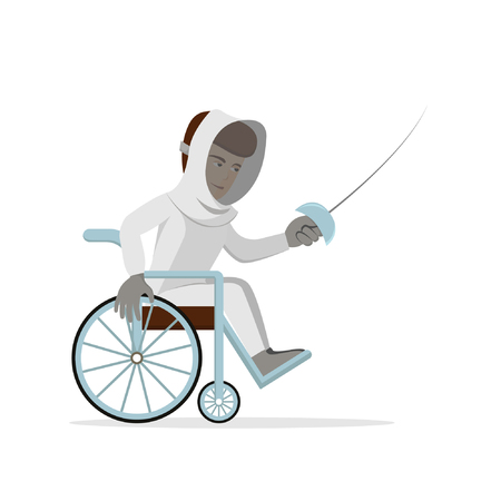 Disabled fencing young man in a wheelchair. Vector illustration of handicapped swordsman with rapier. Flat illustration on white isolated background. Concept for sport, paralympic games, swordplay. Ilustração