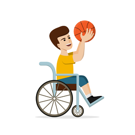 Disabled young man in a wheelchair playing basketball. Vector illustration of handicapped player holding a ball in hands. Flat design. Concept for sport Ilustração