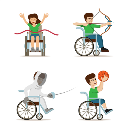 Set of vector illustration with disabled athletes. Concept for games and sport activities - archery, triathlone, fencing, basketball. Handicapped sportsmen. Flat design.