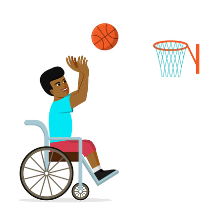 Disabled African American man in a wheelchair playing basketball. Flat vector illustration of handicapped player throwing a ball into basket. Concept for sport