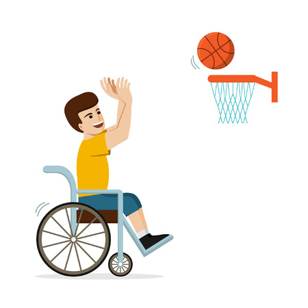 Disabled Caucasian man in a wheelchair playing basketball. Flat vector illustration of handicapped player throwing a ball into basket. Concept for sport Ilustração