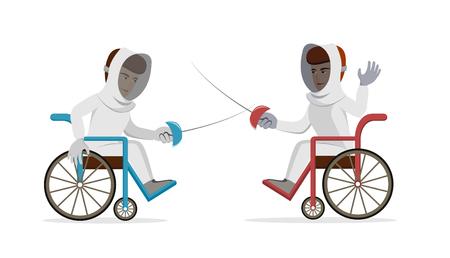 身体障害者車椅子フェンシング選手。猟銃を持つ障害者のスポーツマン。ベクトル分離背景にフラットの図。スポーツ、夏のゲーム、剣術のコンセ