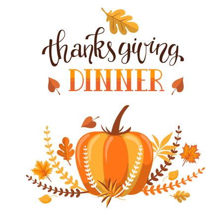 カスタム手描きの書道引用「感謝祭ディナー」と秋の葉とカボチャとカラフルな背景を持つ手書きタイポグラフィポスター。完全に編集可能なベク  イラスト・ベクター素材